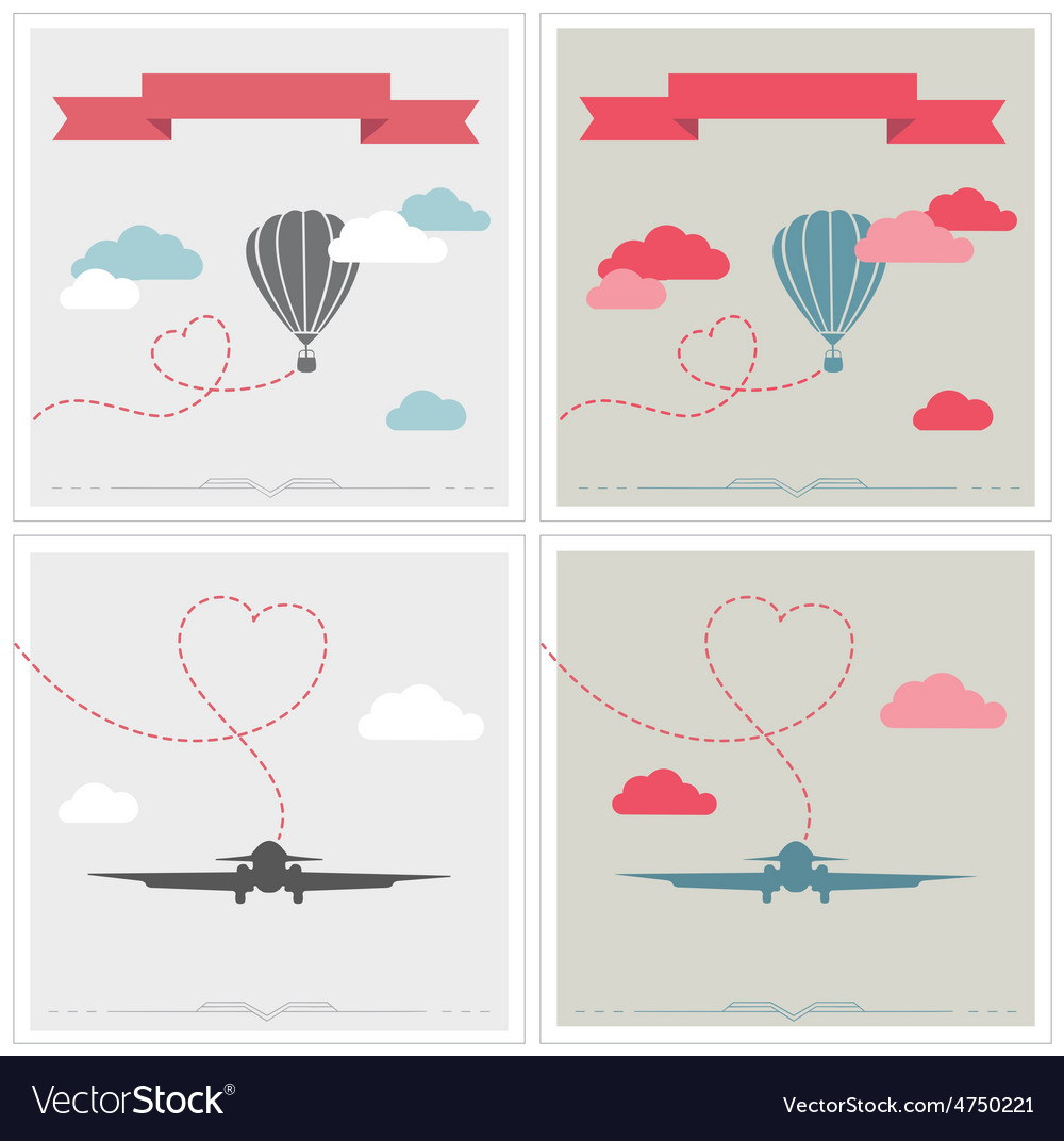 Set of retro cards with aerostat and plane flying vector | Price: 1 Credit (USD $1)