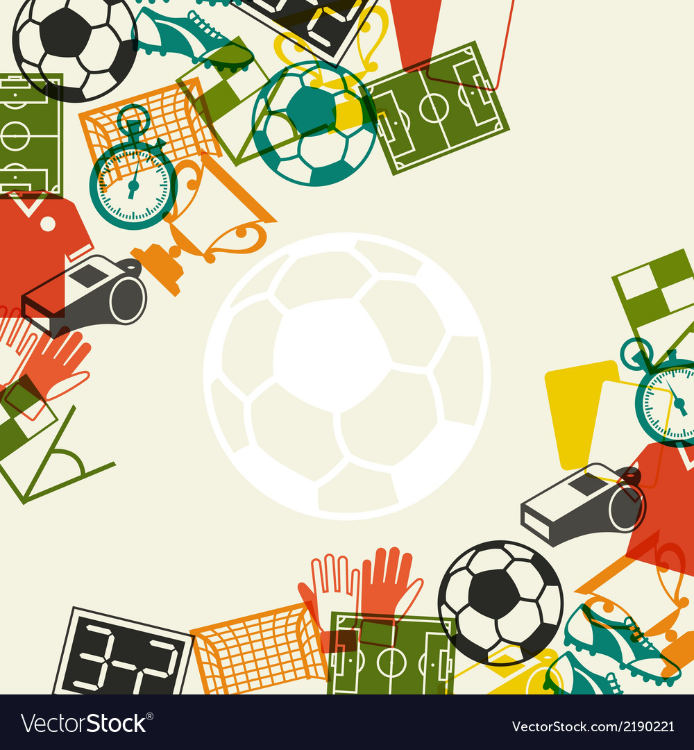 Sports background with soccer football flat icons vector | Price: 1 Credit (USD $1)