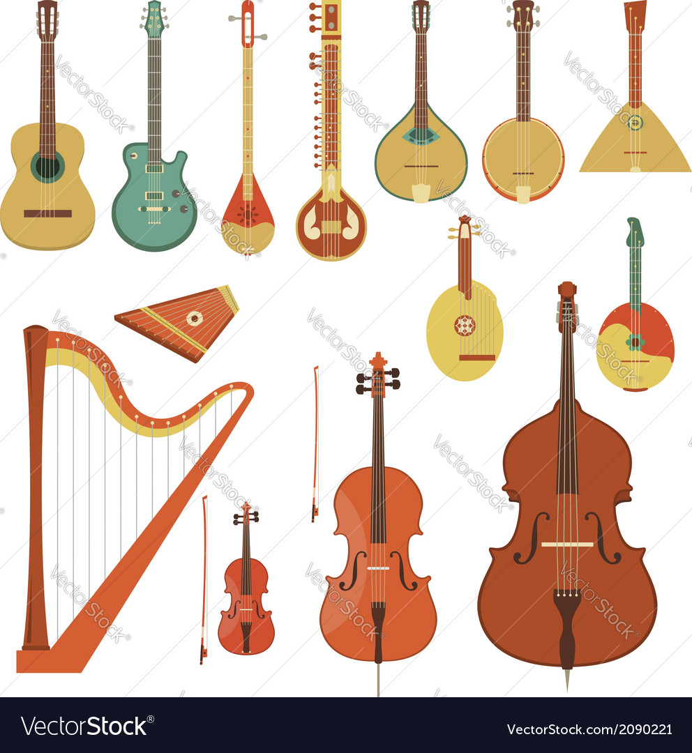 Stringed musical instruments vector | Price: 1 Credit (USD $1)