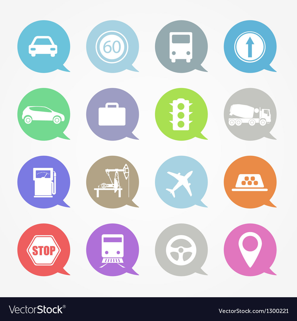 Transportation web icons set vector | Price: 1 Credit (USD $1)