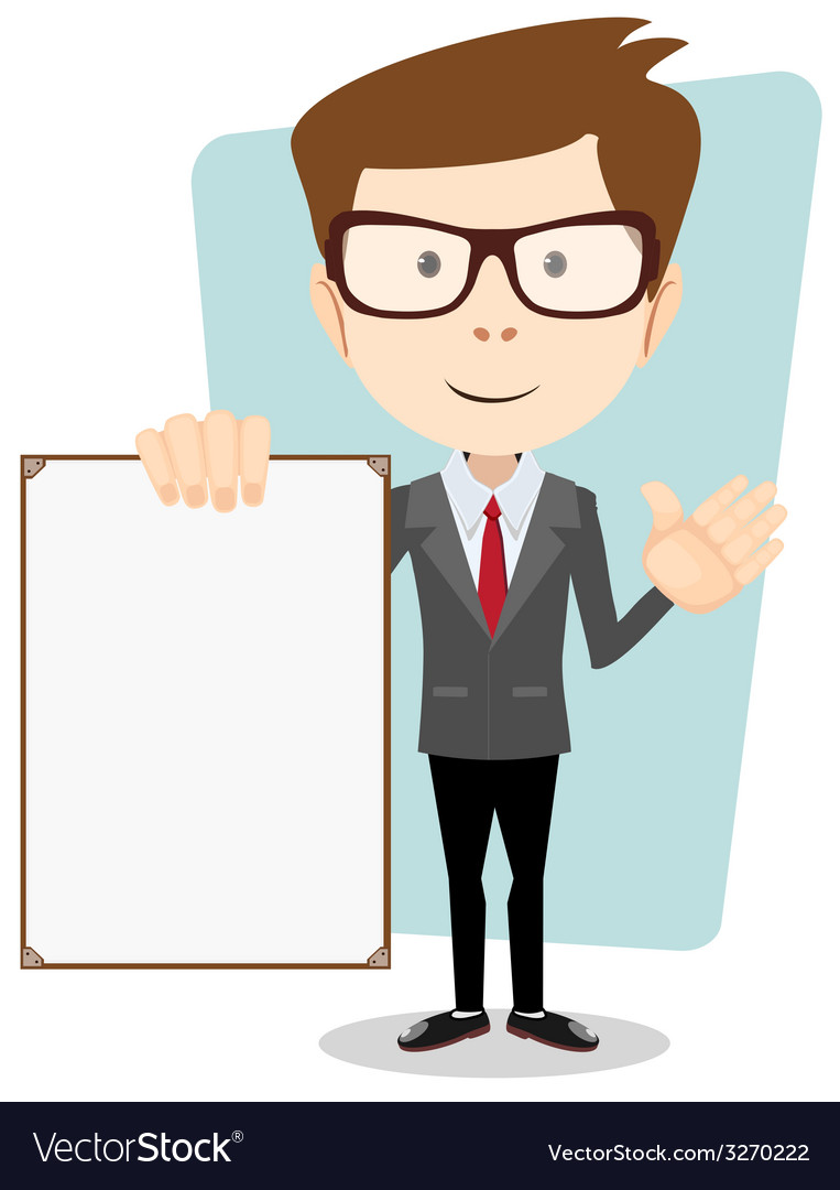 A cartoon businessman holding blank message board vector | Price: 1 Credit (USD $1)