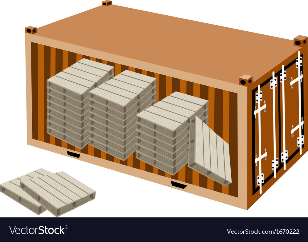 A stack of wood pallets in cargo container vector | Price: 1 Credit (USD $1)