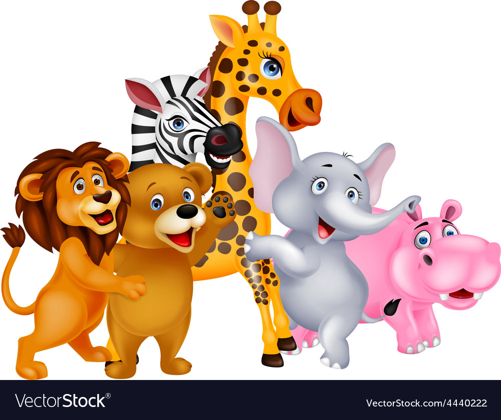 Animals cartoon posing vector | Price: 1 Credit (USD $1)