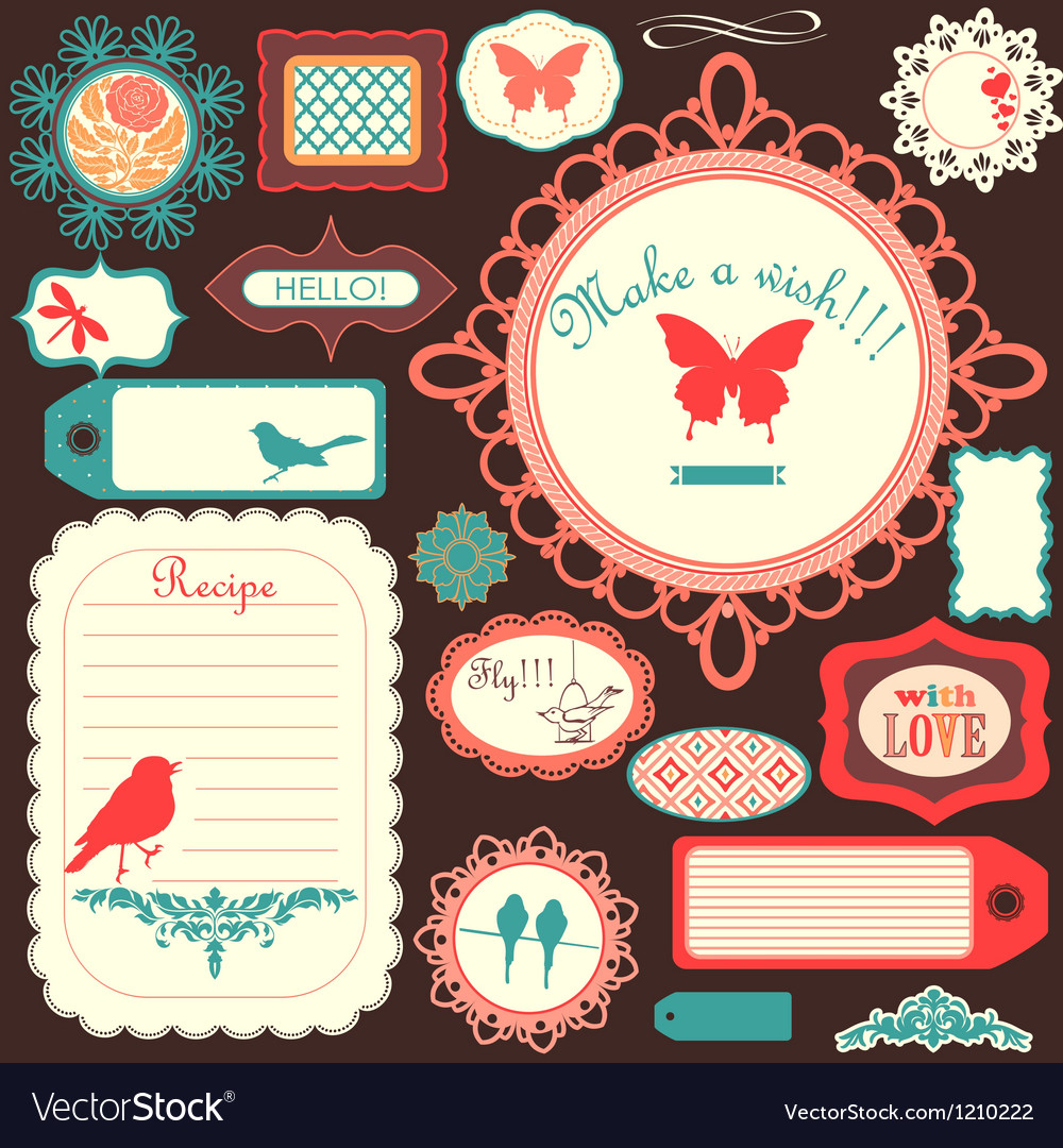 Cute scrapbook childish set vector | Price: 3 Credit (USD $3)