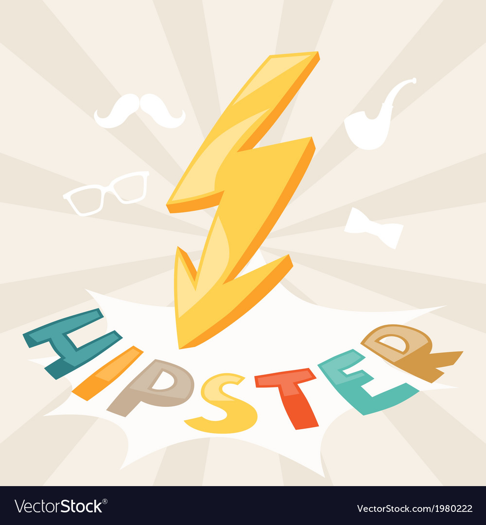 Design with lightning in hipster style vector | Price: 1 Credit (USD $1)