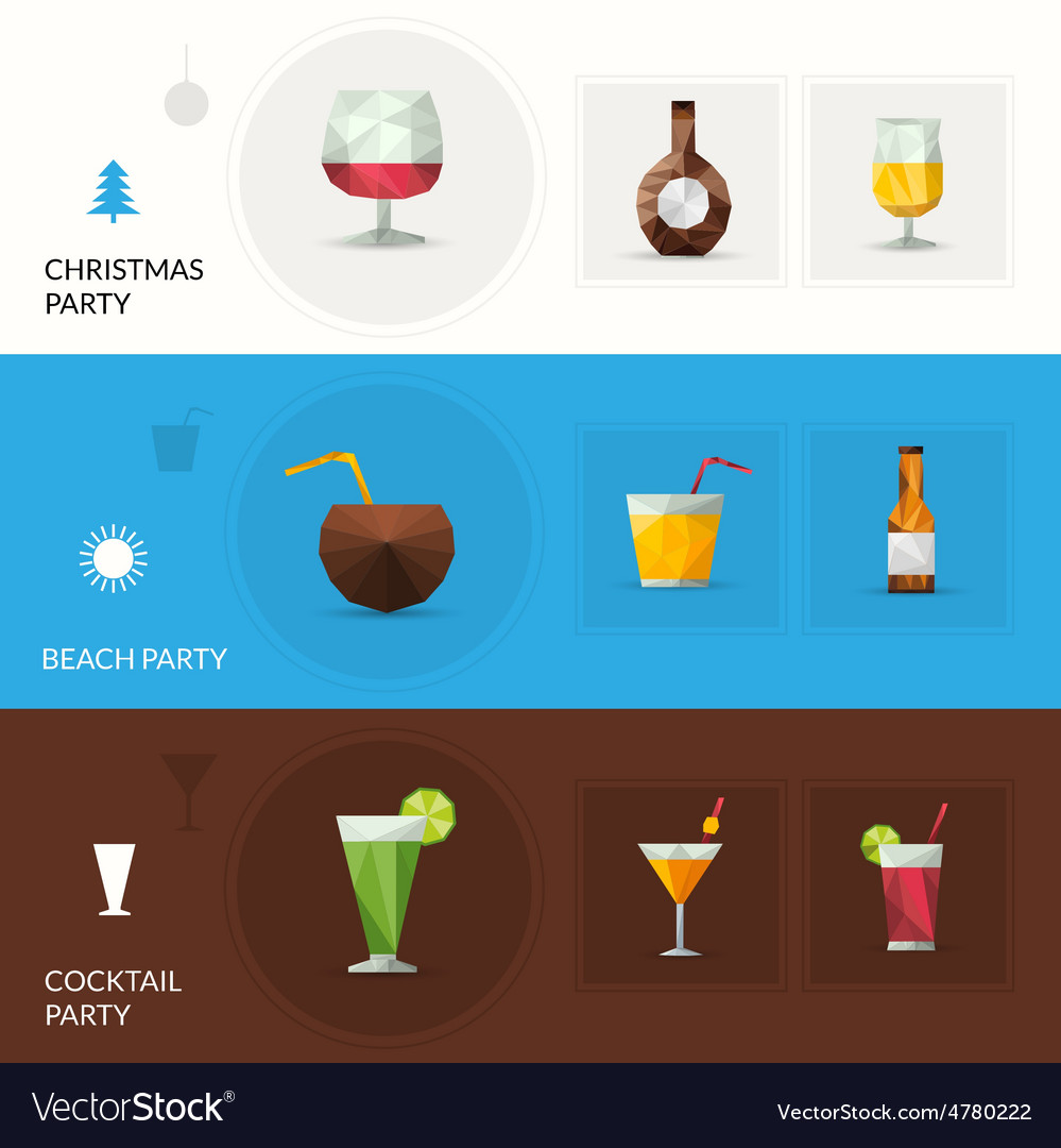 Drinks polygonal banners vector | Price: 3 Credit (USD $3)