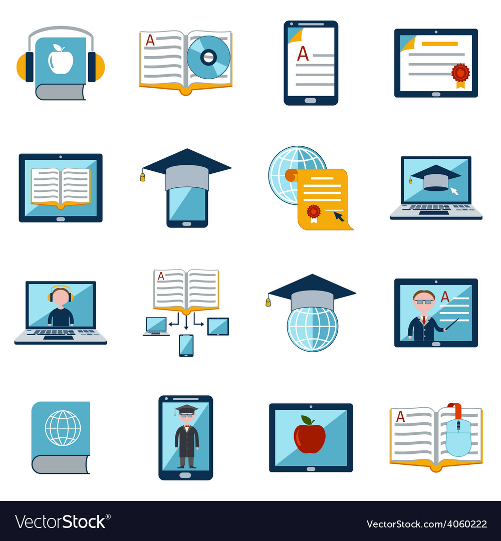 E-learning icons set vector | Price: 1 Credit (USD $1)