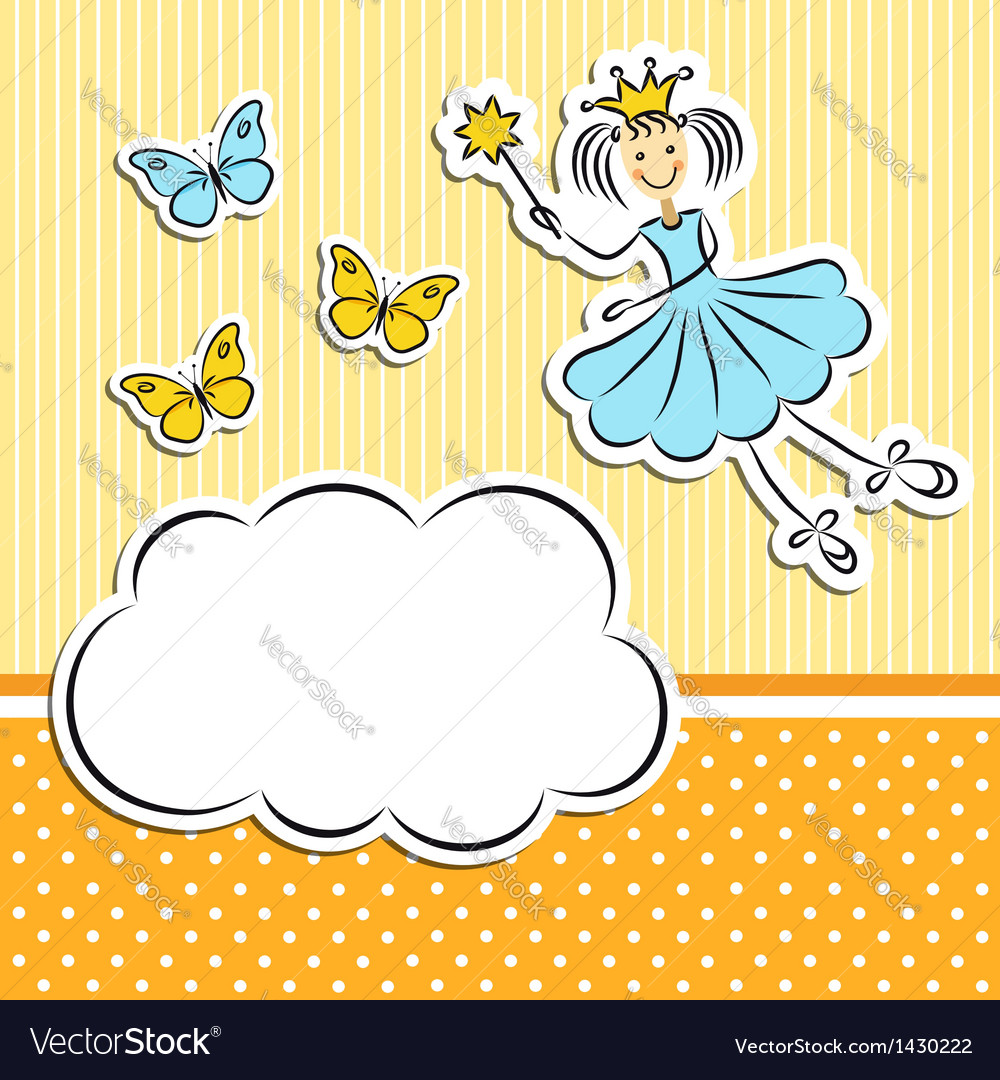 Fairy princess with paper cloud and butterflies vector | Price:  Credit (USD $)