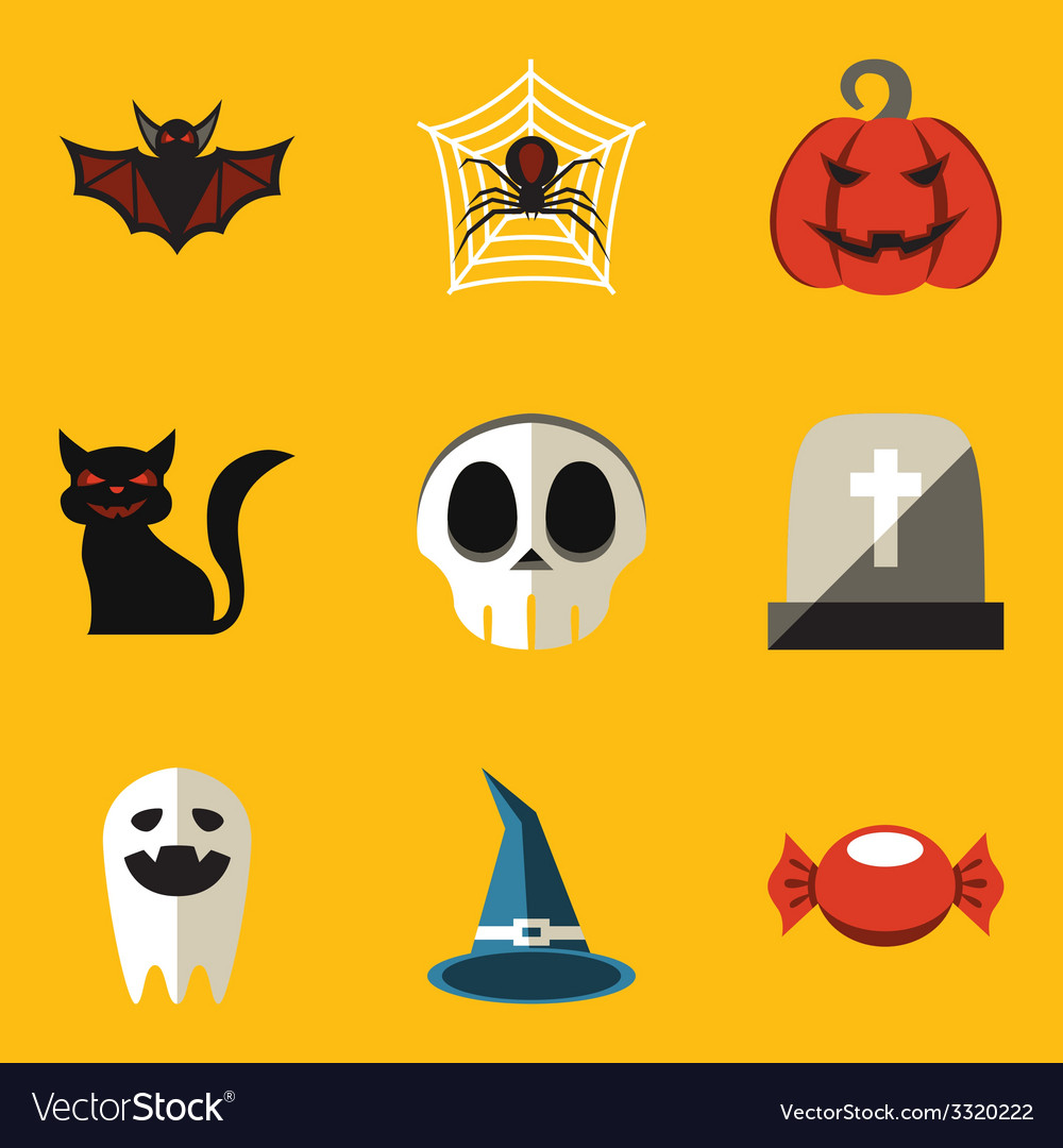 Flat icon set halloween vector | Price: 1 Credit (USD $1)