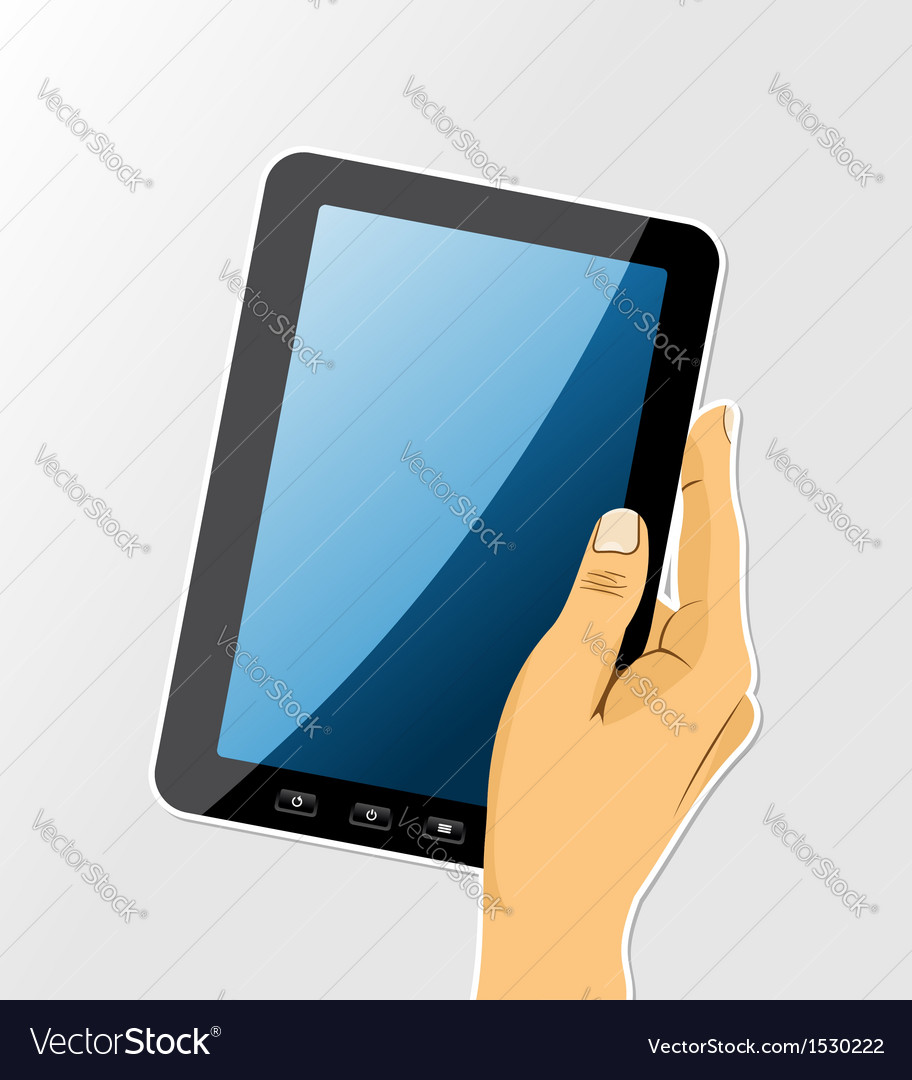 Human hand holds a touch computer vector | Price: 1 Credit (USD $1)