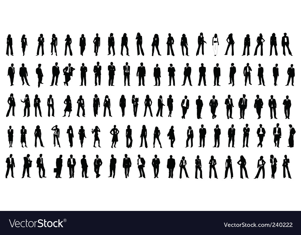 Hundred silhouette people vector | Price: 1 Credit (USD $1)