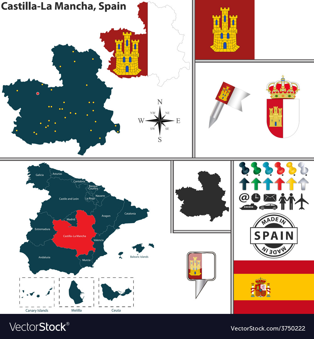 Map of castilla la mancha vector | Price: 1 Credit (USD $1)