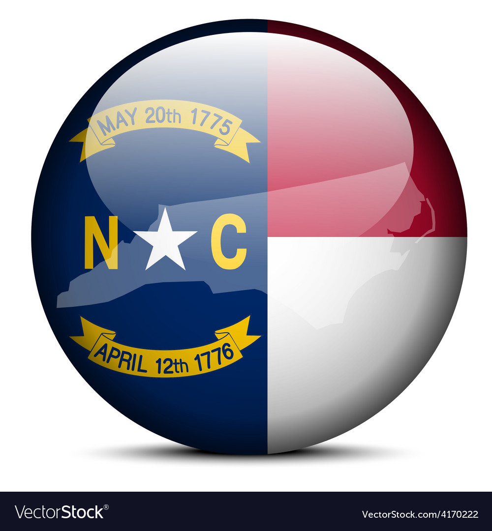 Map on flag button of usa north carolina state vector | Price: 1 Credit (USD $1)
