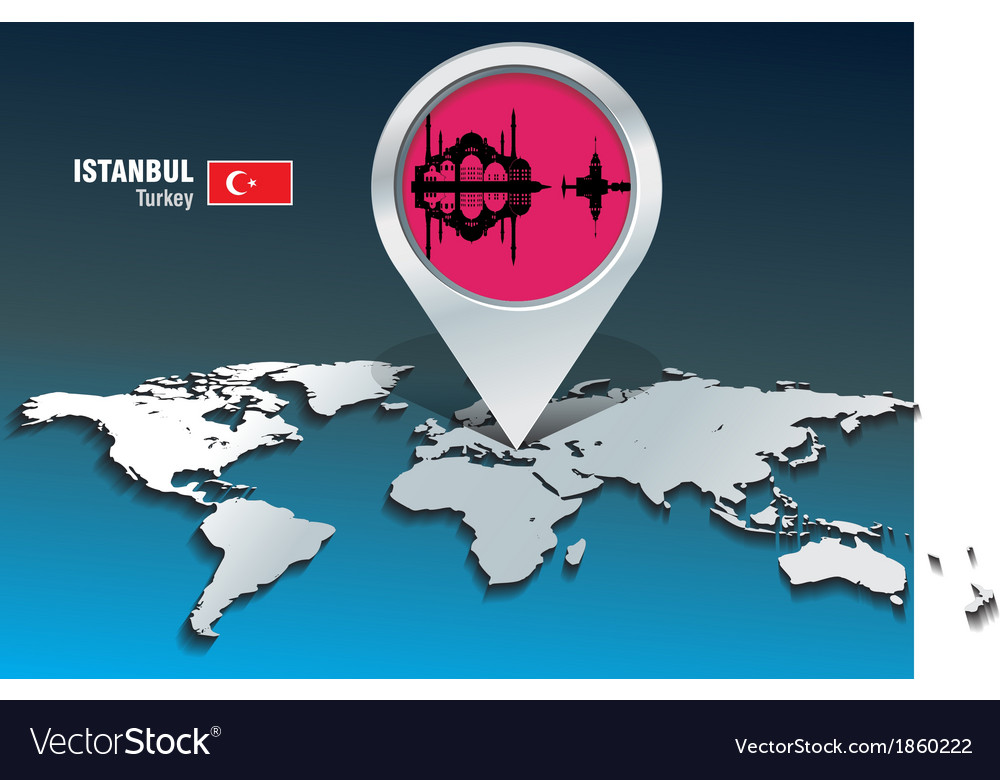 Map pin with istanbul skyline vector | Price: 1 Credit (USD $1)