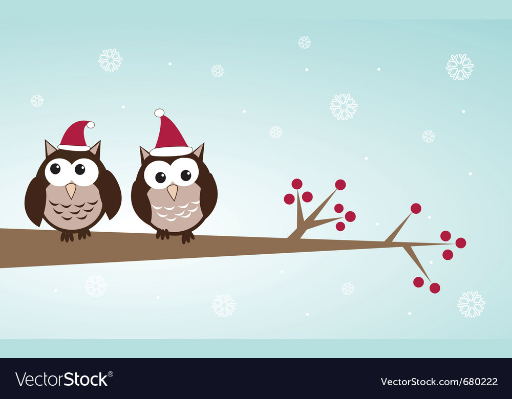 Owls christmas branch vector | Price: 1 Credit (USD $1)