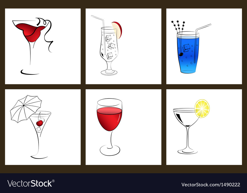 Set of cocktail glasses and wine glasses vector | Price: 1 Credit (USD $1)