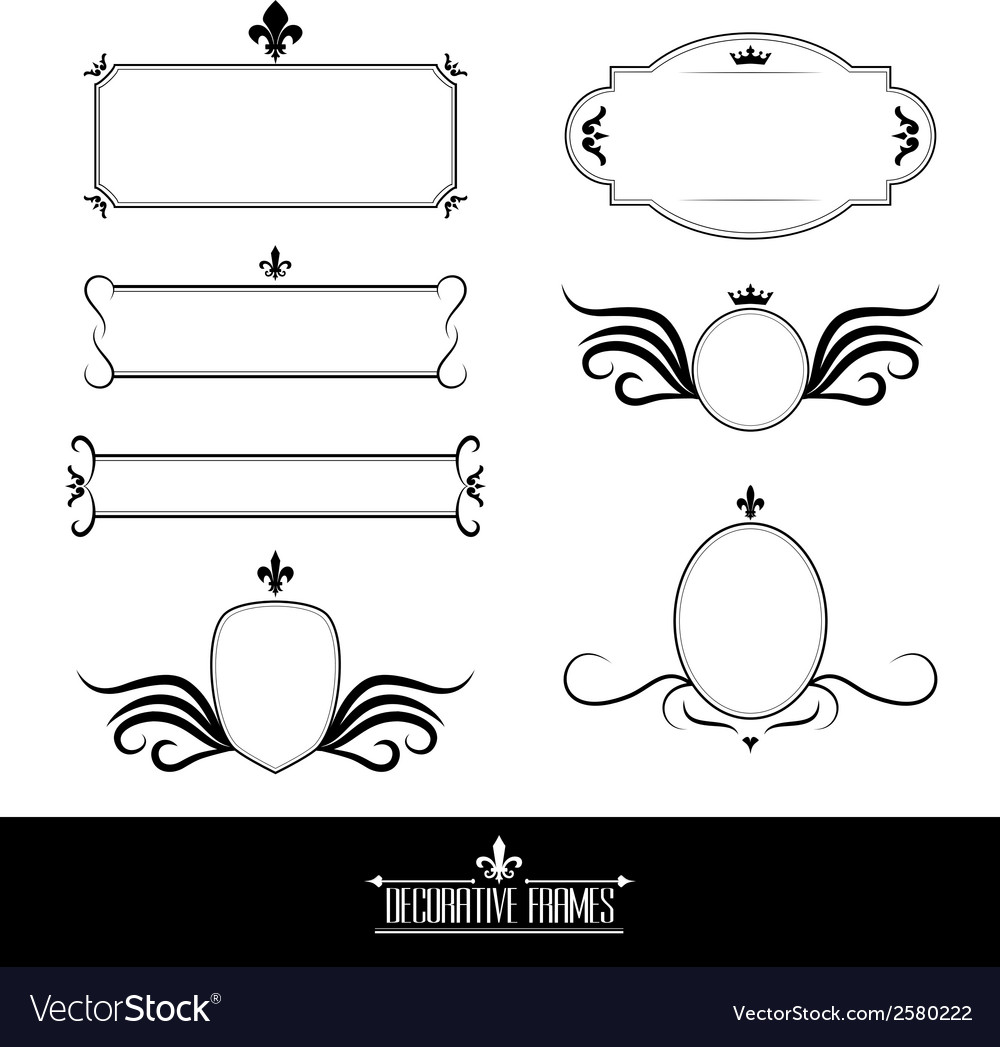 Set of decorative frames and borders vector | Price: 1 Credit (USD $1)