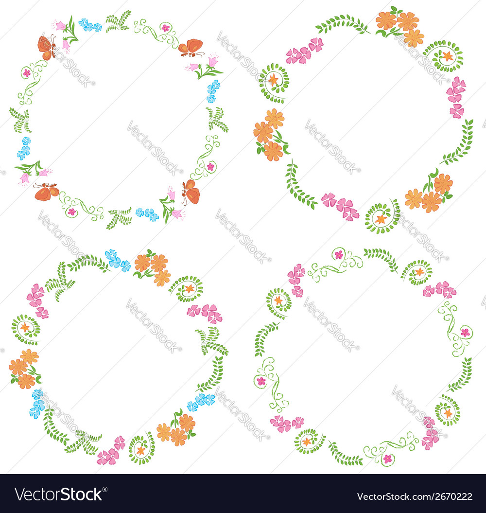 Summer frames with flora and fauna vector | Price: 1 Credit (USD $1)