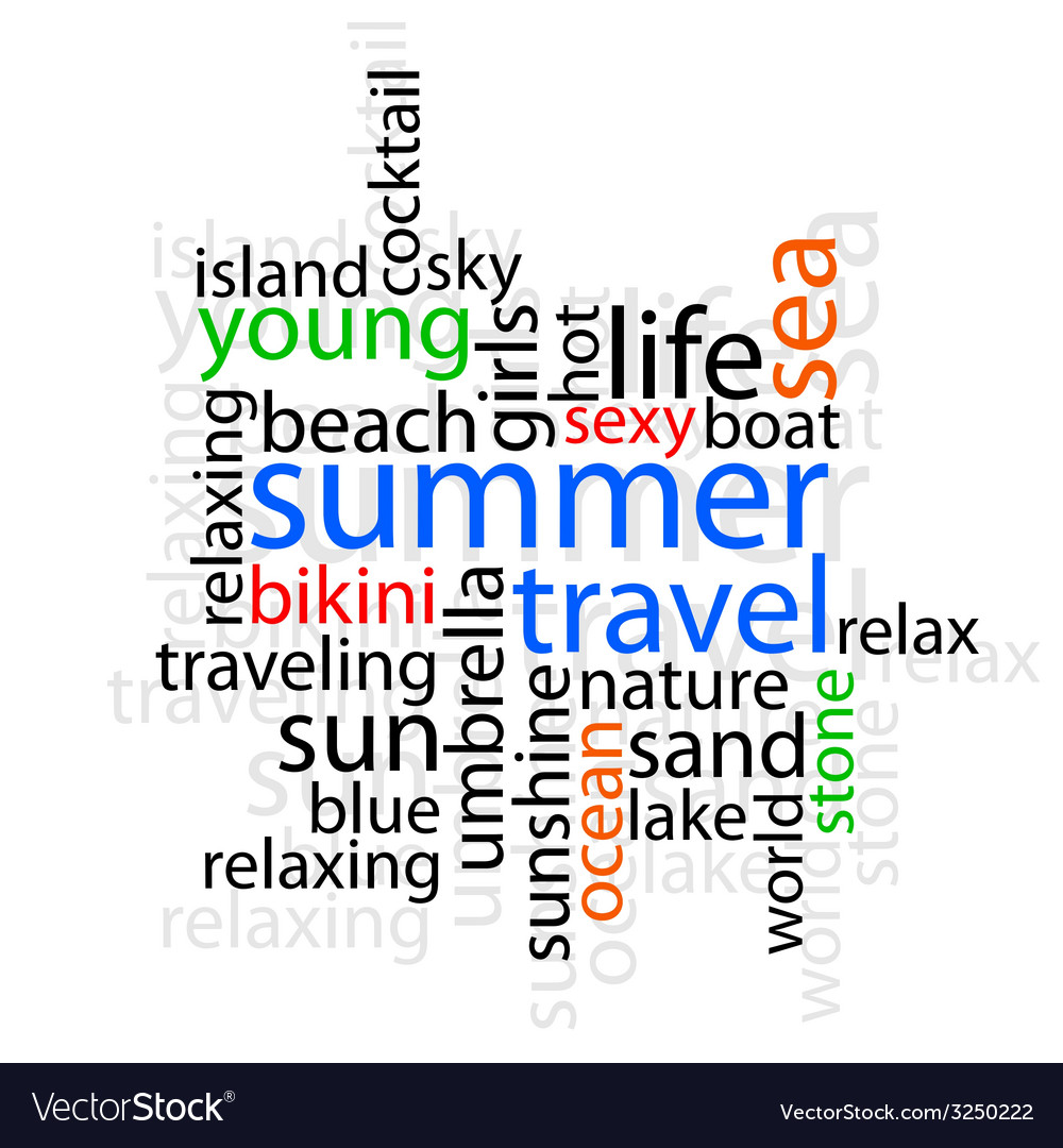 Summer travel with word vector | Price: 1 Credit (USD $1)
