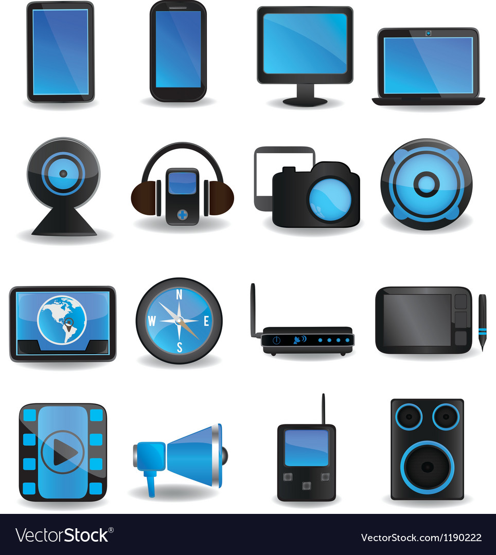 Technology device icons vector | Price: 1 Credit (USD $1)