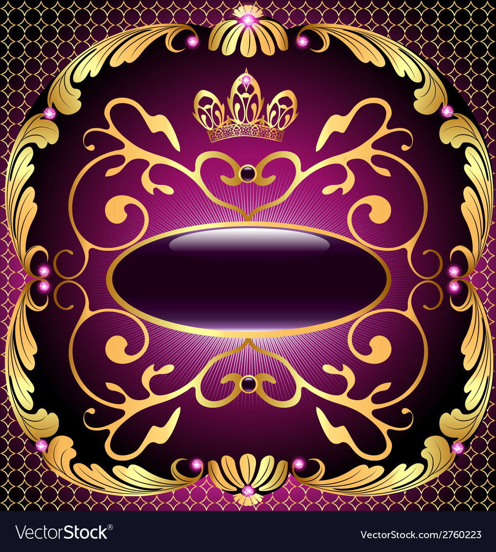 Background with pattern and crown of gold vector | Price: 1 Credit (USD $1)