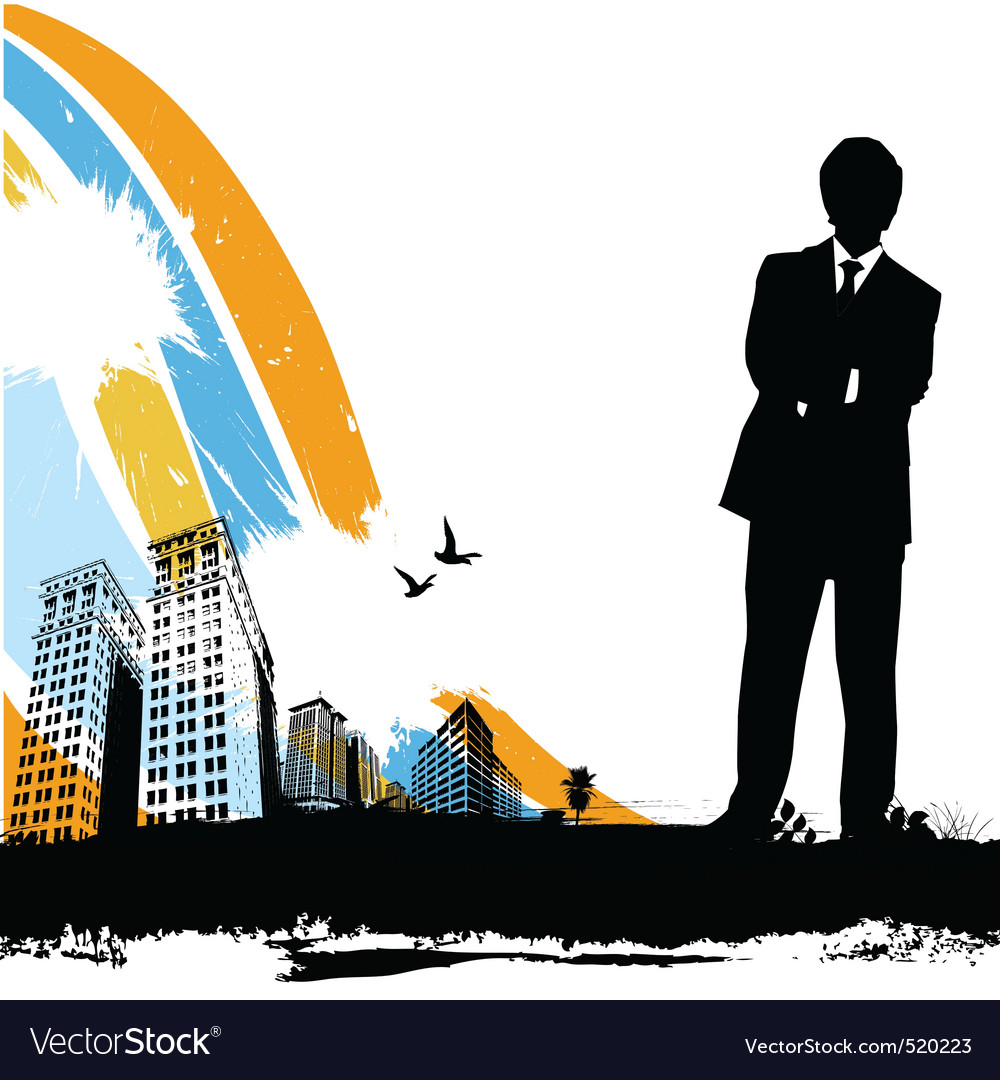 Business man with city vector | Price: 1 Credit (USD $1)