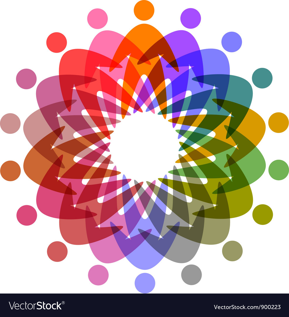Circle of colorful people pictogram vector | Price: 1 Credit (USD $1)