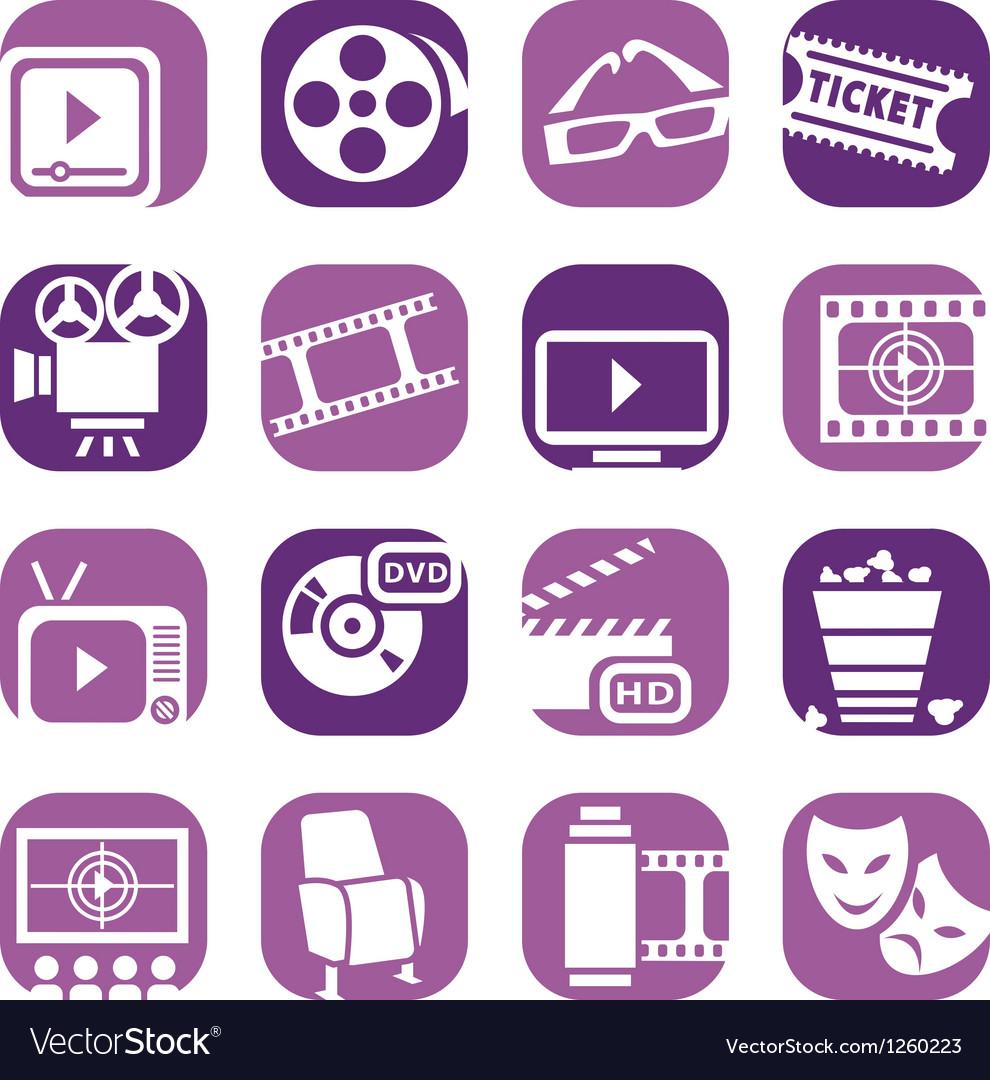 Color cinema icons setjpg vector | Price: 1 Credit (USD $1)