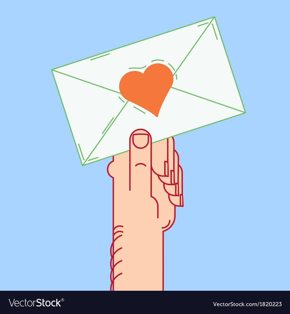 Envelope in hand valentines vector | Price: 1 Credit (USD $1)