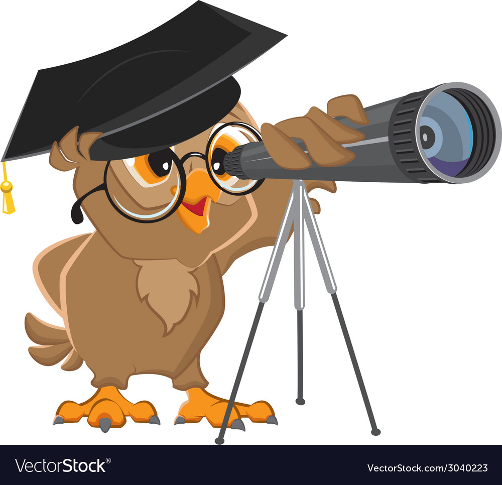 Owl astronomer looking through a telescope vector | Price: 1 Credit (USD $1)
