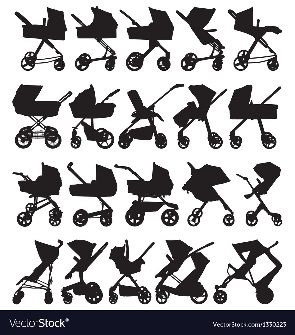 Pram and pushchair silhouettes vector | Price: 1 Credit (USD $1)