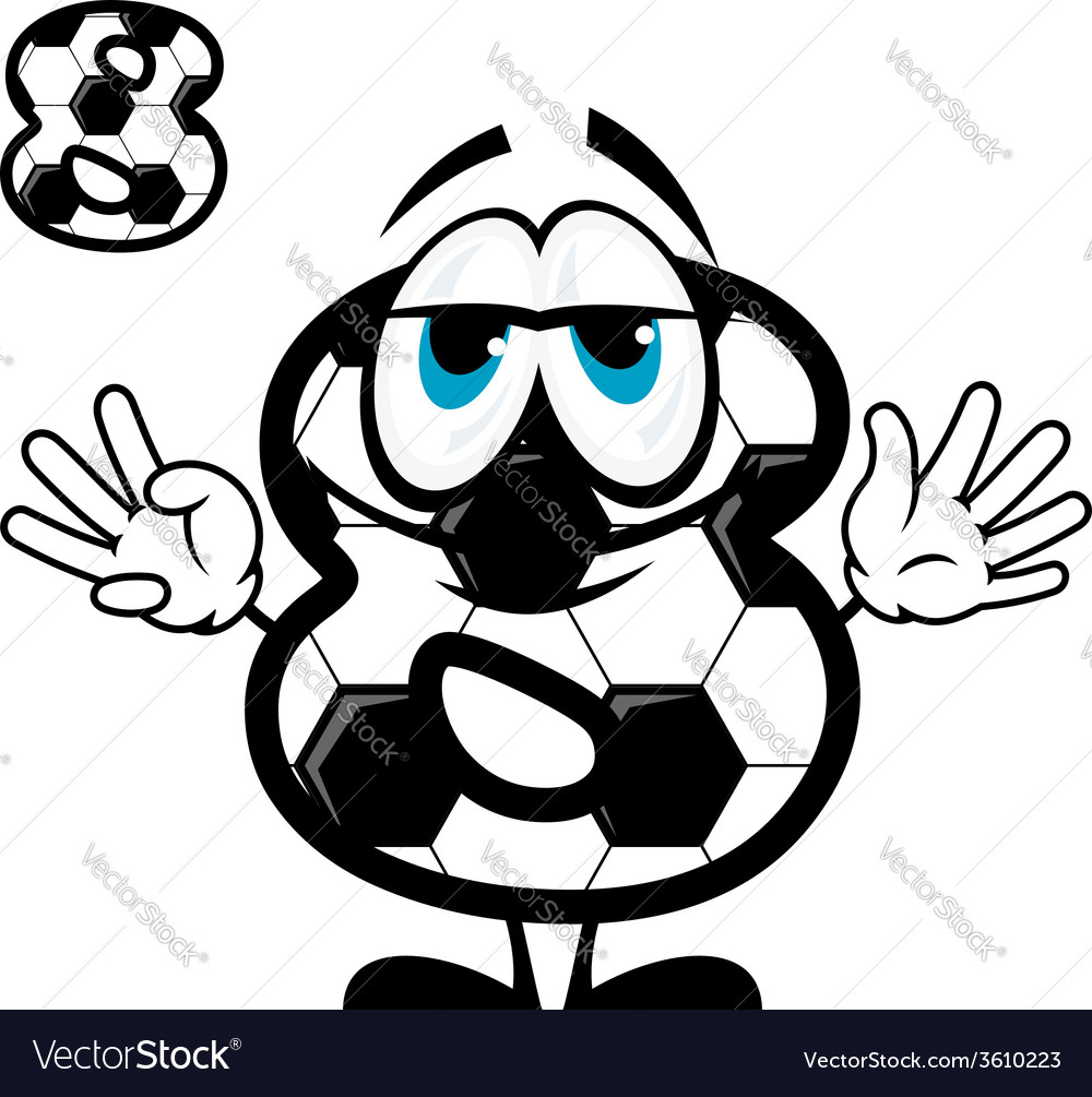 Soccer number eight in cartoon style vector   Price: 1 Credit (USD $1)