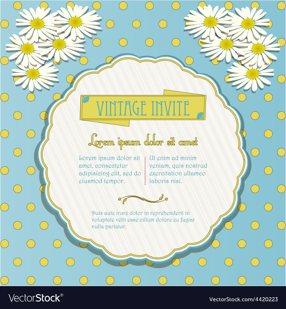 Vintage invite with chamomile flowers vector   Price: 1 Credit (USD $1)