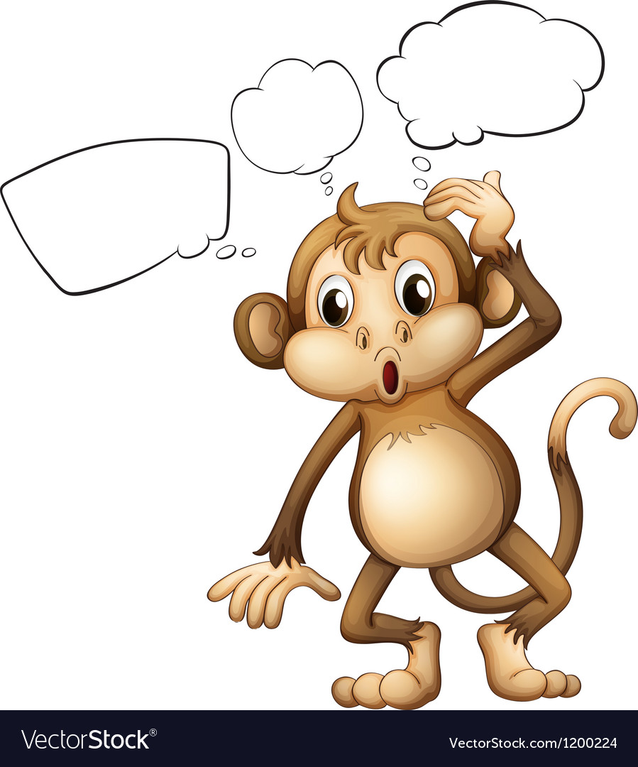 A brown monkey with empty callouts vector | Price: 1 Credit (USD $1)