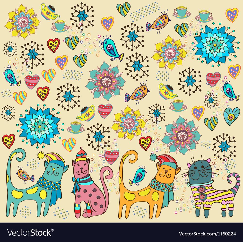 Bright cat background vector | Price: 1 Credit (USD $1)
