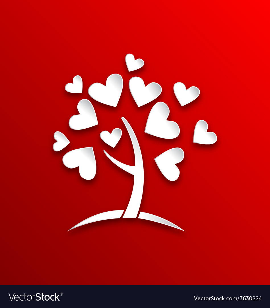 Concept of tree with heart leaves paper cut style vector | Price: 1 Credit (USD $1)