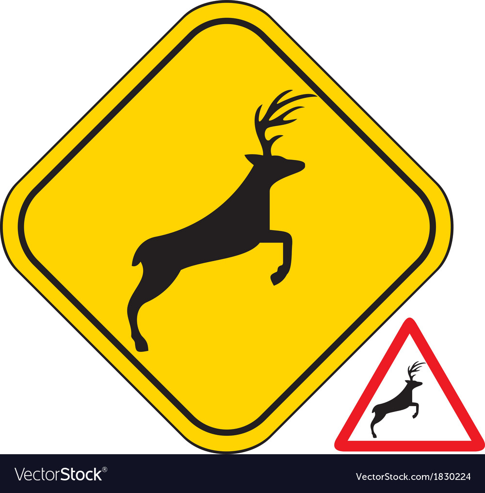 Deer crossing traffic warning sign vector | Price: 1 Credit (USD $1)