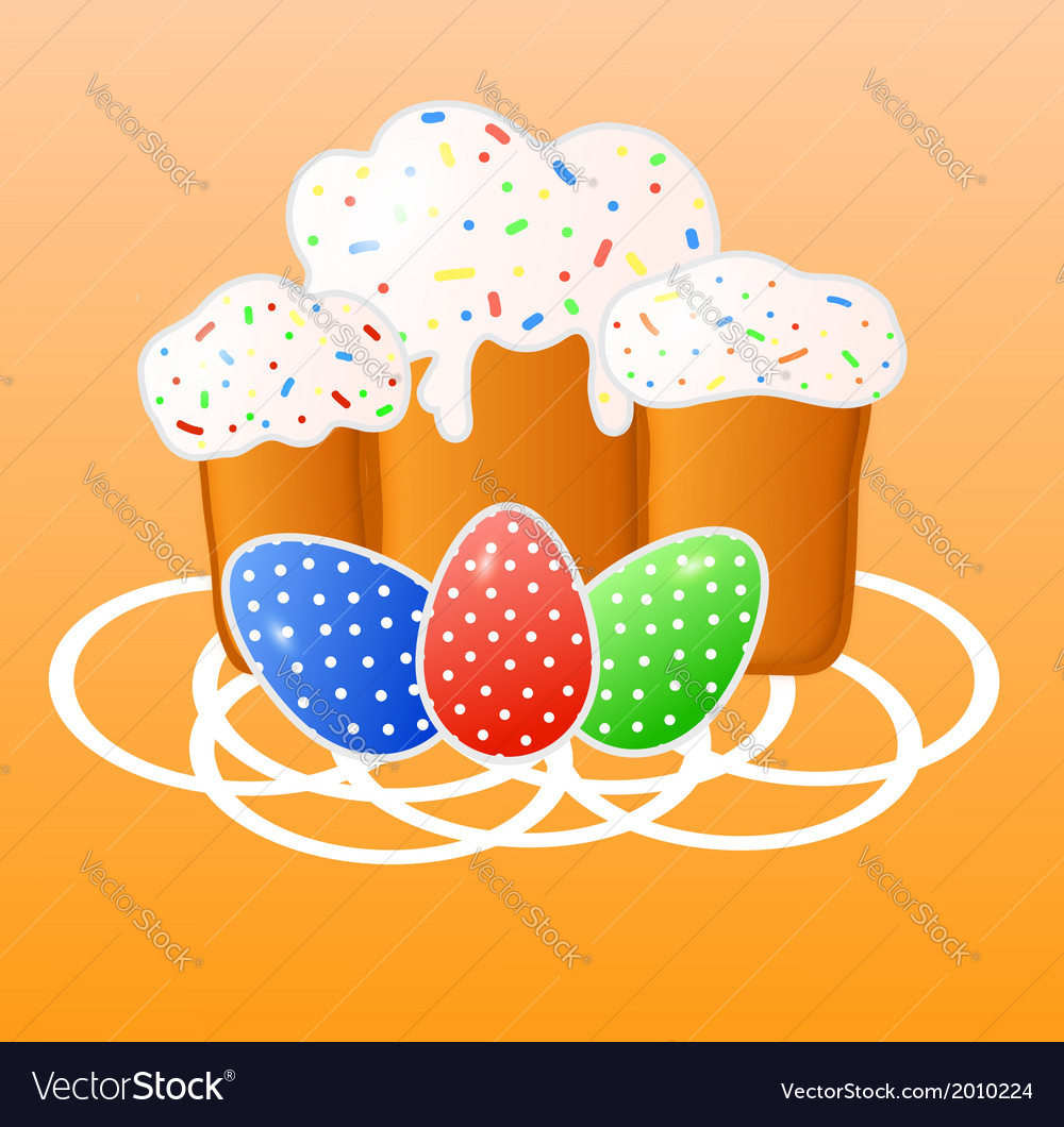 Easter greeting card with eggs and cakes vector | Price: 1 Credit (USD $1)