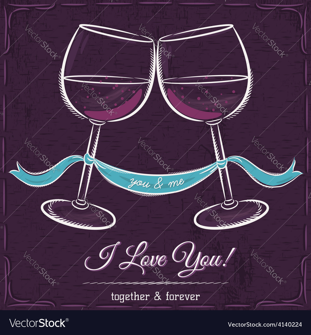 Purple weddings card with two glass of wine vector | Price: 1 Credit (USD $1)