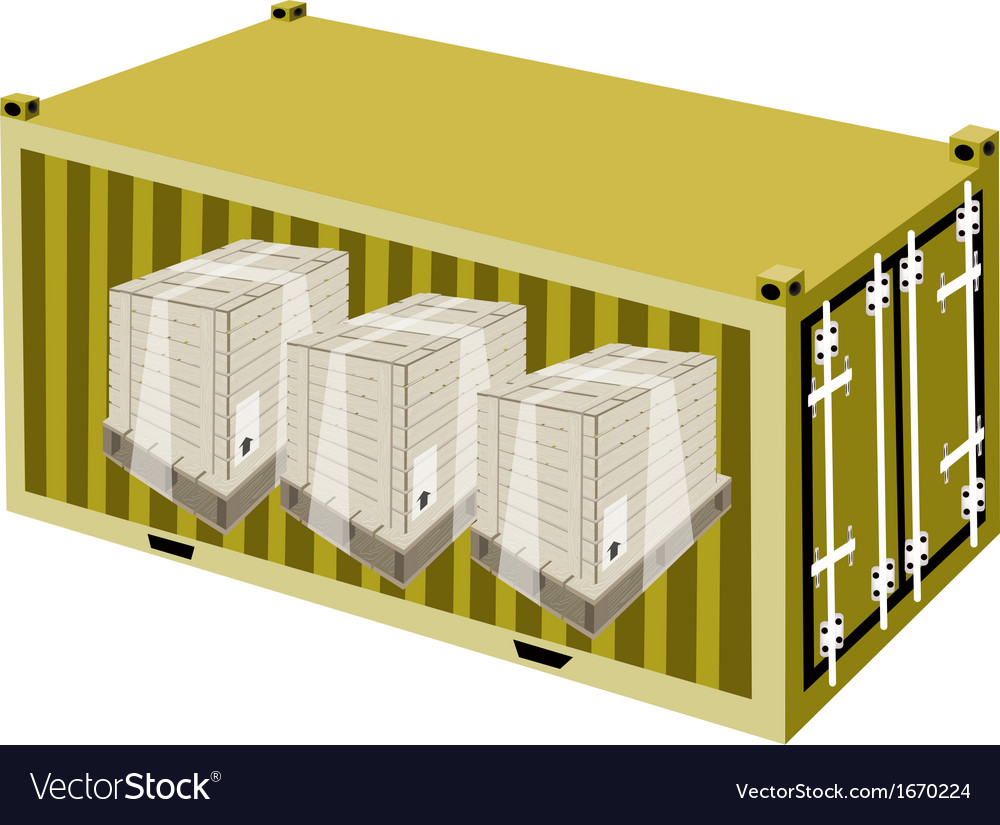 Shipping boxes in cargo container vector | Price: 1 Credit (USD $1)
