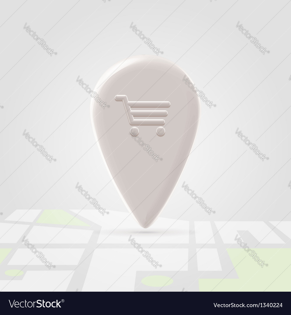 Shopping place pin over local map vector | Price: 1 Credit (USD $1)
