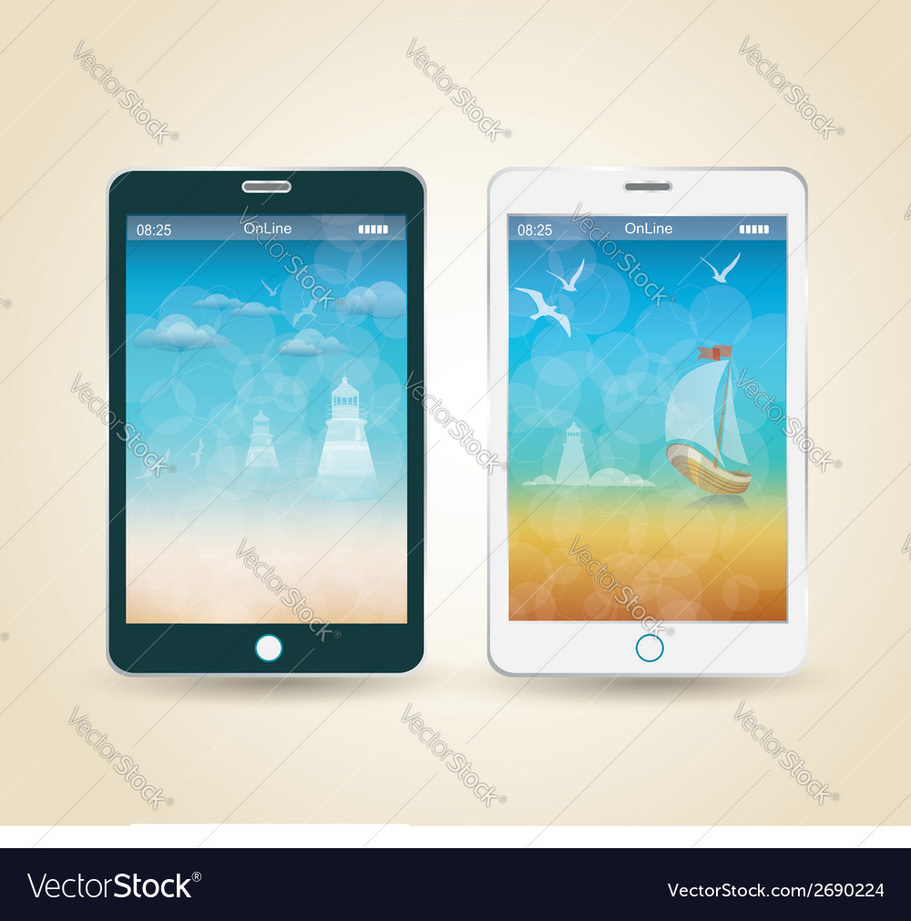 Smartphones with picture of beach and tropical sea vector | Price: 1 Credit (USD $1)