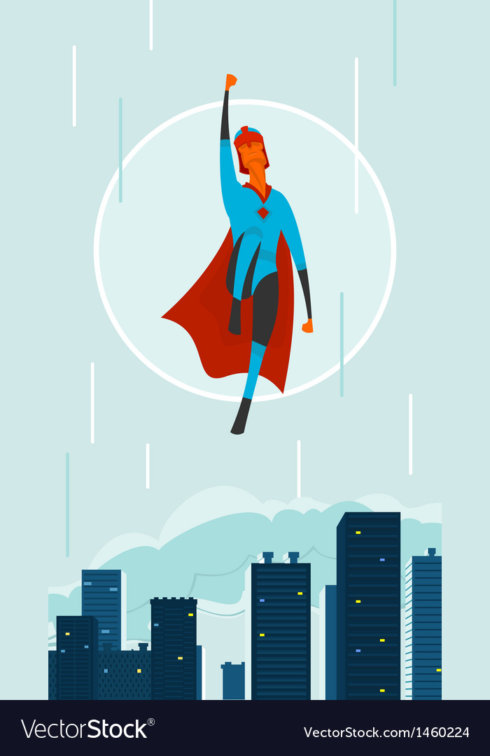 Superhero in city vector | Price: 1 Credit (USD $1)