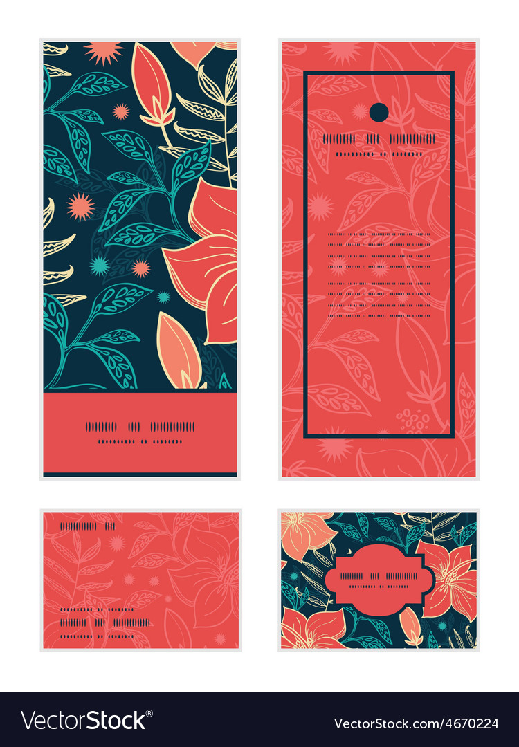 Vibrant tropical hibiscus flowers vertical vector | Price: 1 Credit (USD $1)