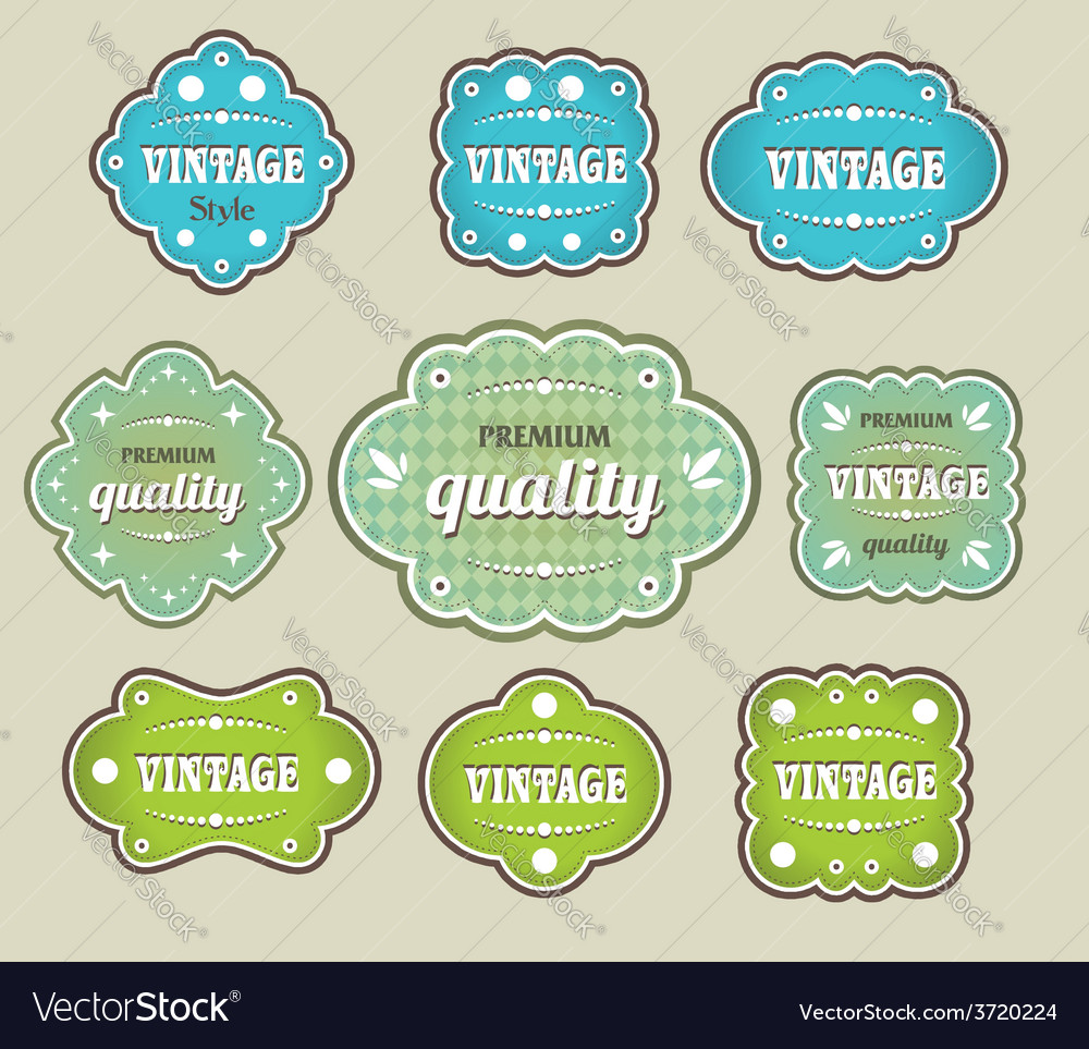 Vintage labels retro style set vector | Price: 1 Credit (USD $1)