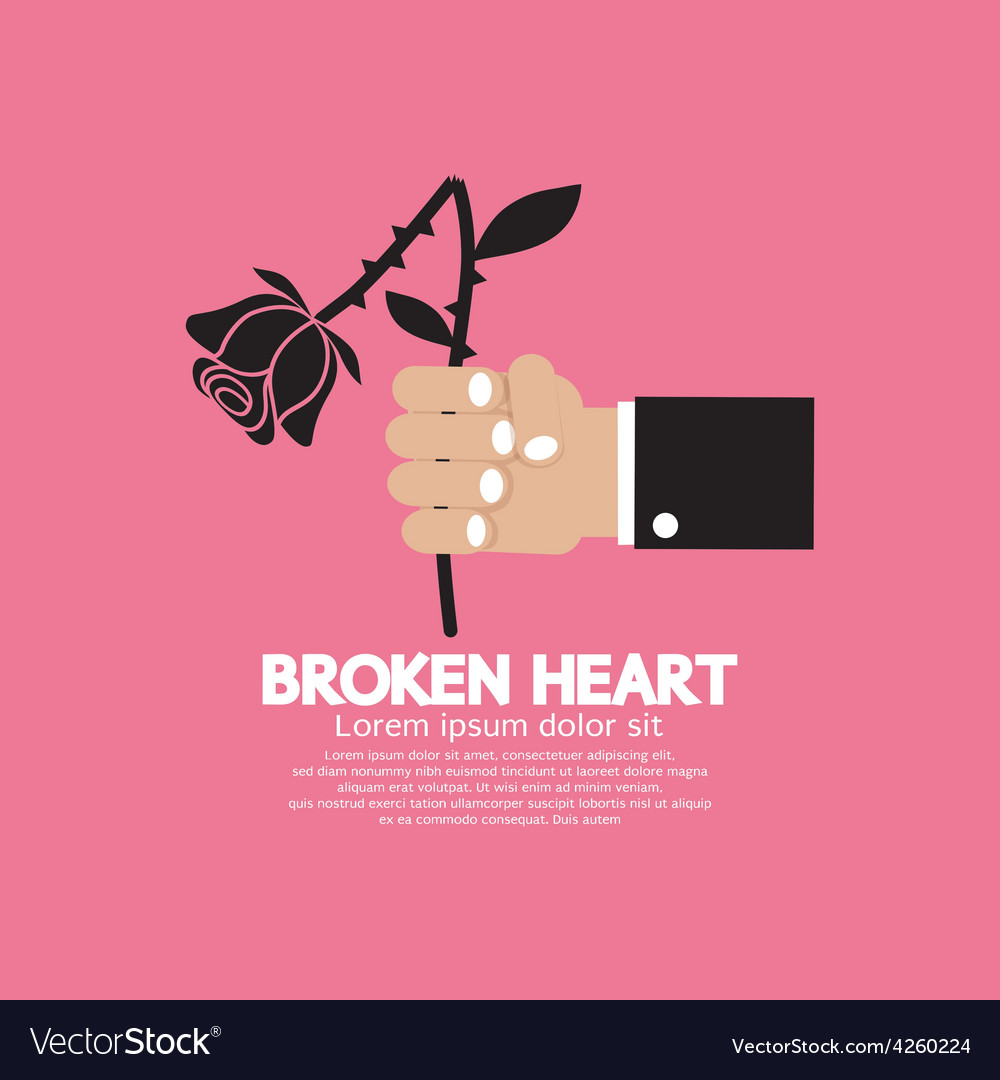 Wither rose in hand broken heart concept vector | Price: 1 Credit (USD $1)