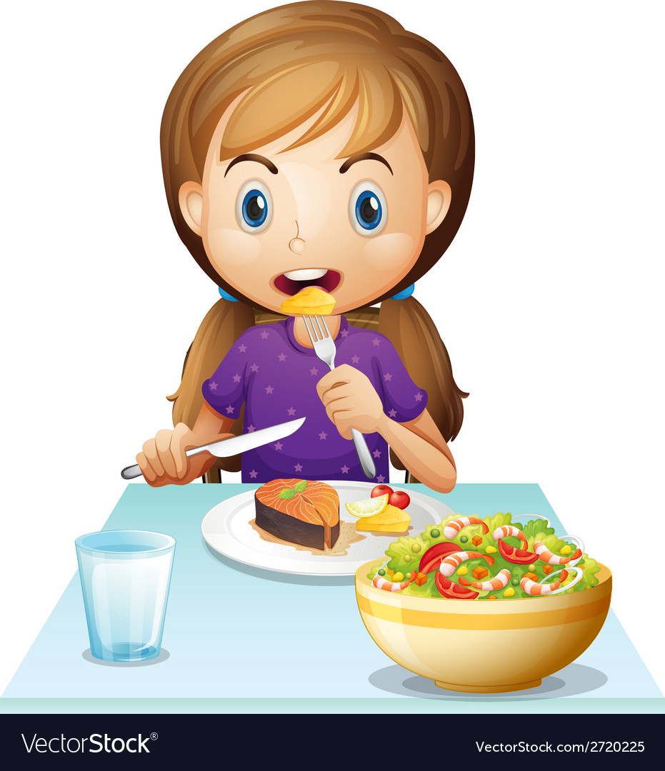 A hungry girl eating lunch vector | Price: 1 Credit (USD $1)