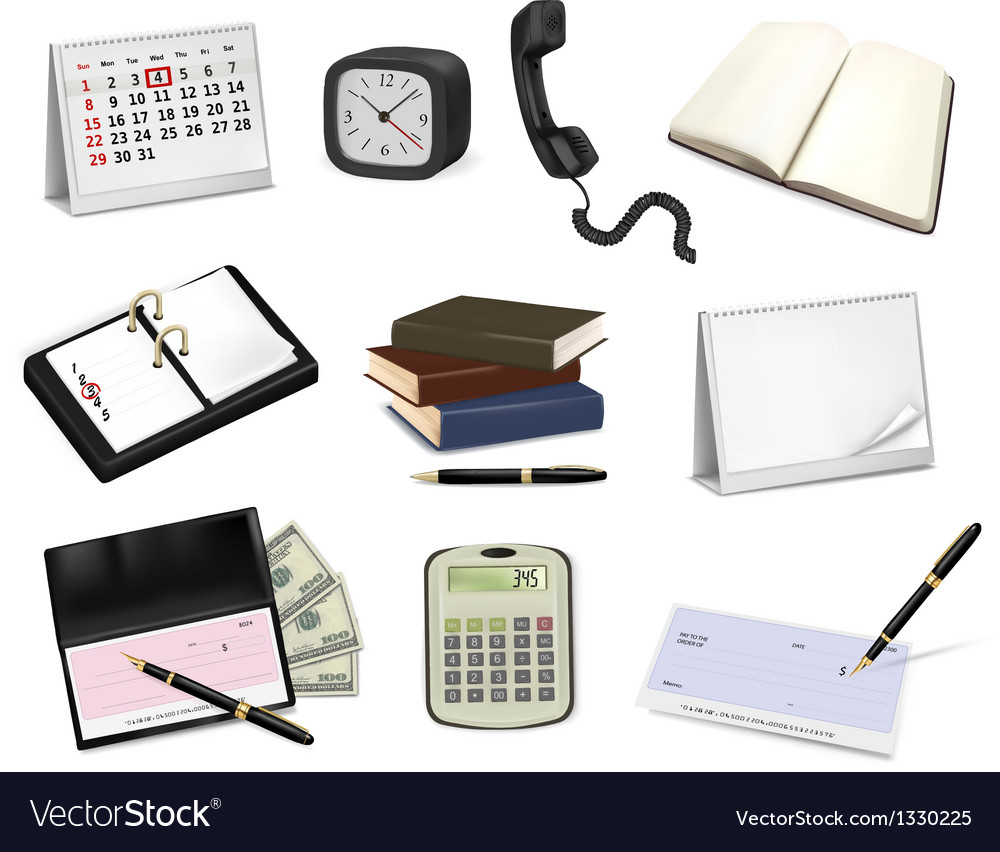 Big collection of office supplies vector | Price: 5 Credit (USD $5)