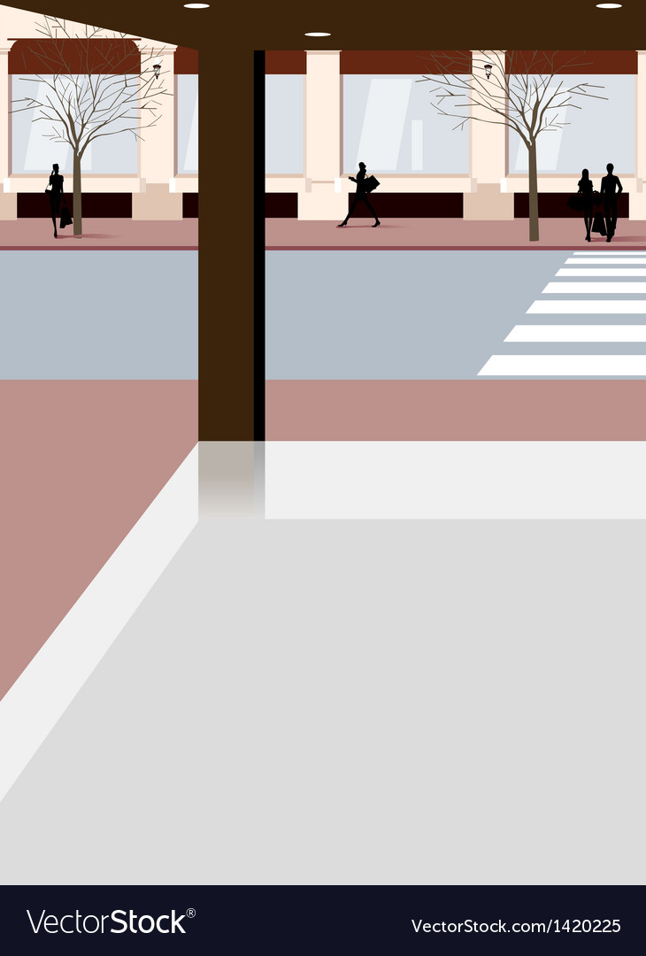 City street scene vector | Price: 1 Credit (USD $1)