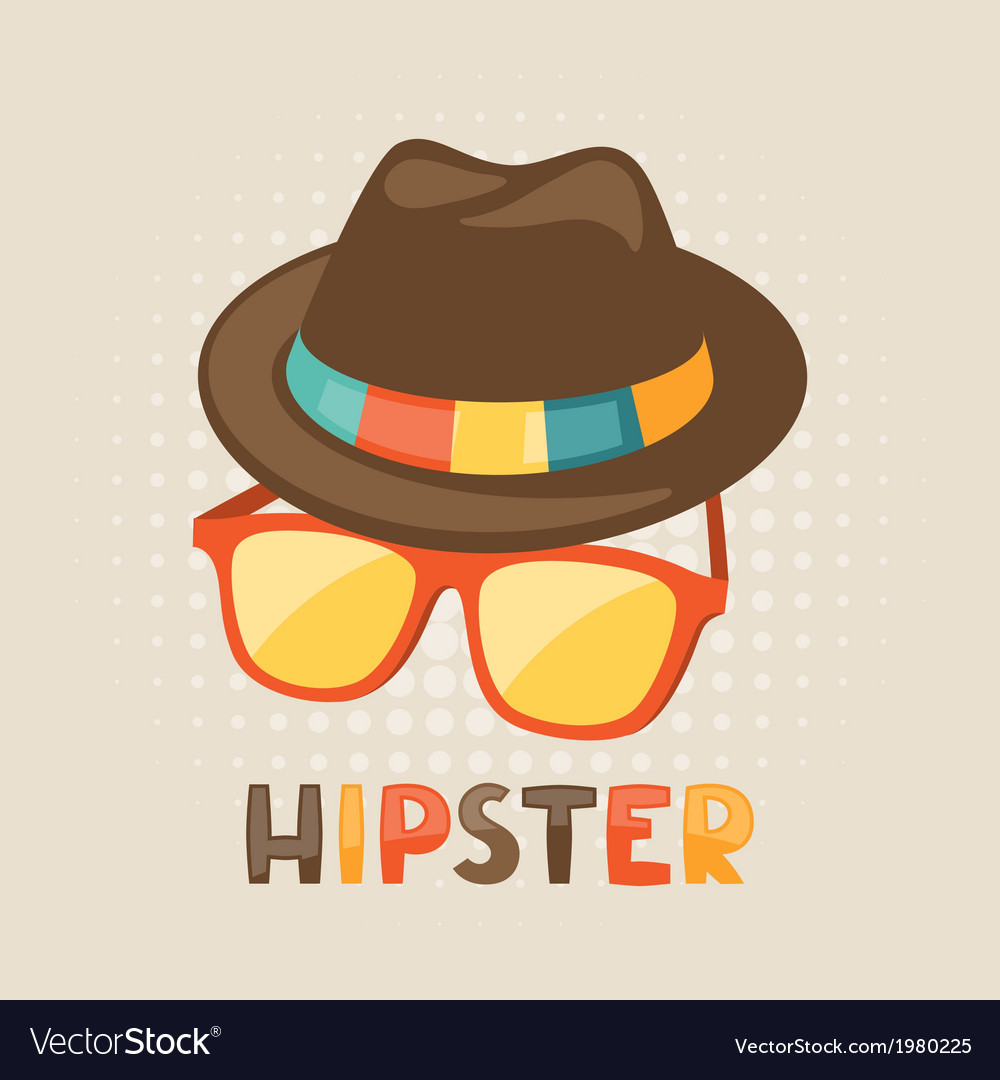 Design with hat and glasses in hipster style vector | Price: 1 Credit (USD $1)